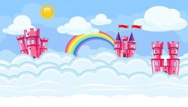 Seamless editable celestial cloudscape with pink castles for game design