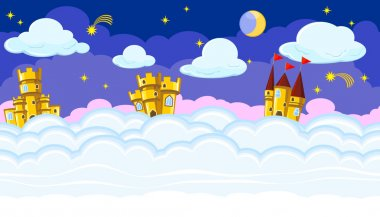 Seamless editable night cloudscape with golden castles for game design stock vector