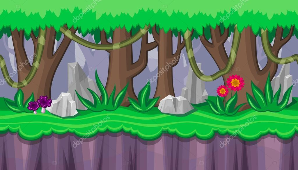Seamless summer forest landscape with purple mushrooms for game design
