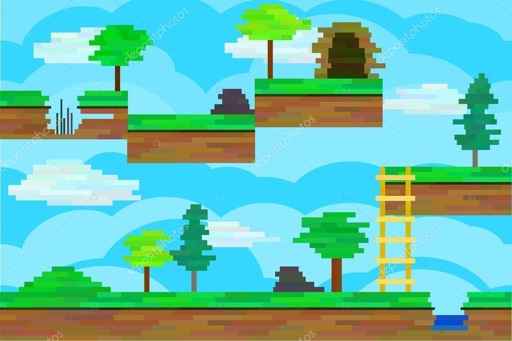Seamless editable pixel landscape for platform game design