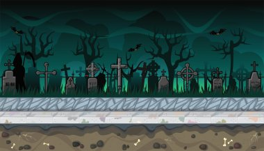 Seamless cemetery landscape with trees for video game design