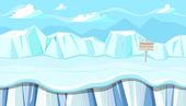 Fotografia Paesaggio invernale senza giunte con gli iceberg per disegno gioco di Natale