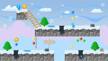 Seamless editable winter landscape for platform game design