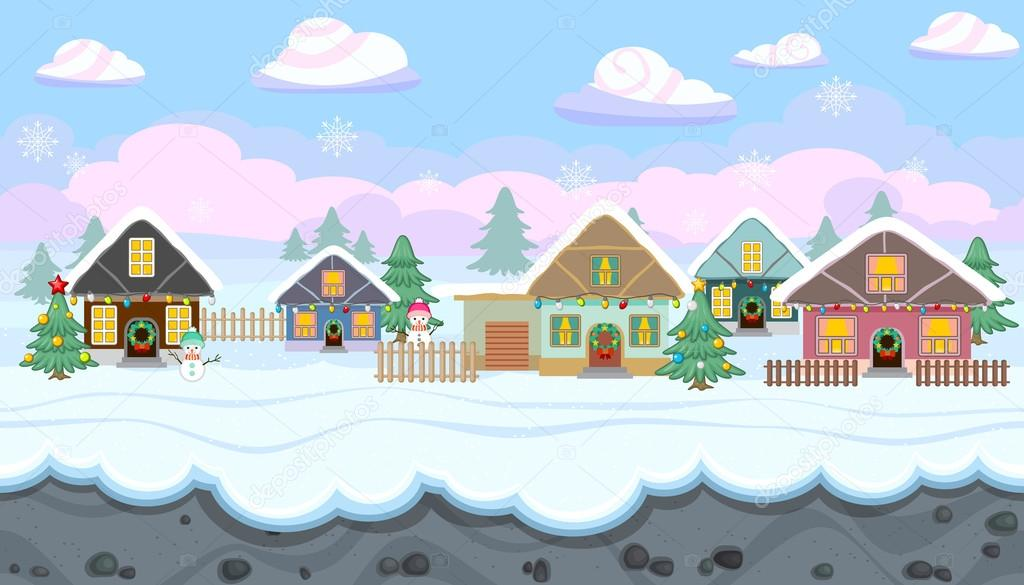 Paesaggio invernale senza soluzione di continuità con case ...