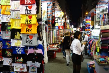 Tourist shops for bargain priced fashion and casual wear in Mong