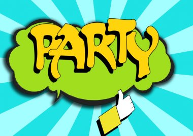 Pop Art comics icon with party word