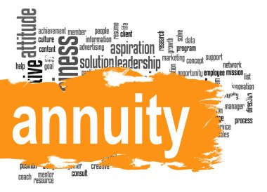 Annuity word cloud with orange banner