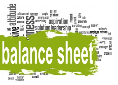 Balance sheet word cloud with green banner