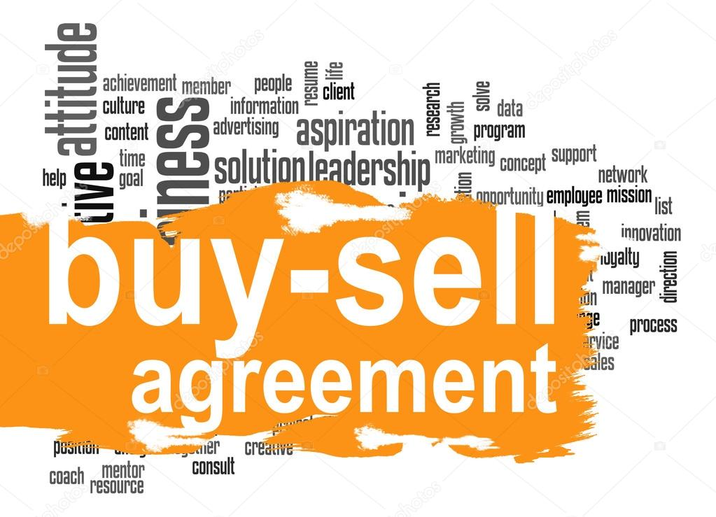 Buy Sell Agreement Word Cloud With Orange Banner Stock Photo