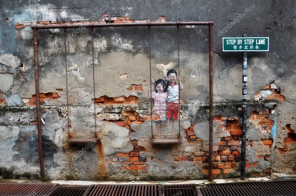 Straße Wandbild Tittle Kinder auf der Schaukel gemalt von Louis Gan ...