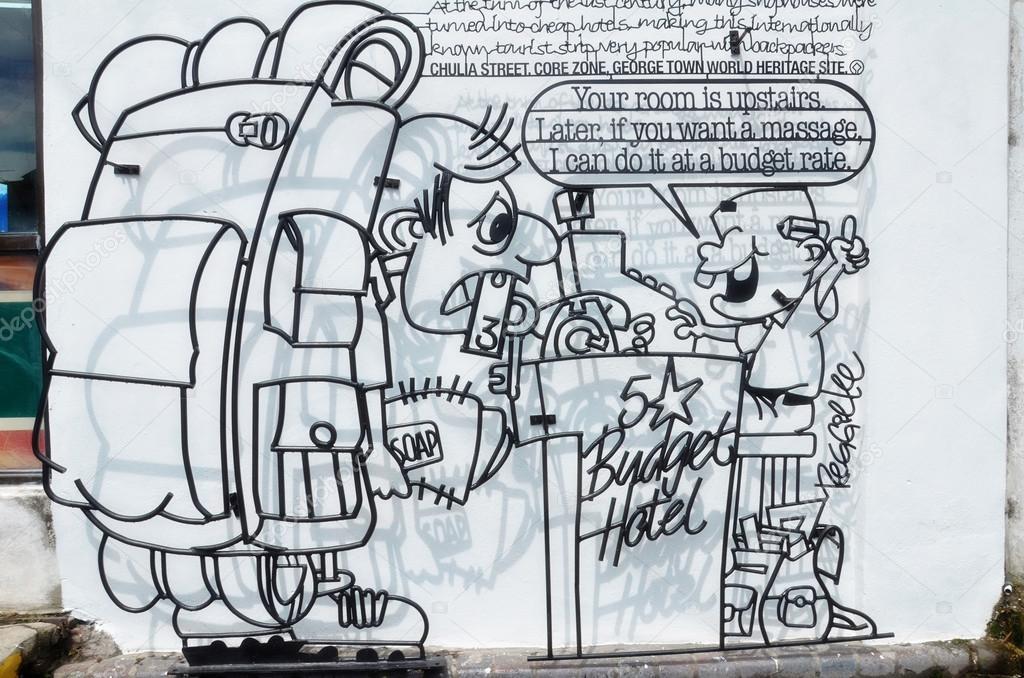 Draht-Kunst der Tourist und Budget-Hotel-Operator erstellt von ...