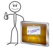 Stickman mit E-Learning-Taste