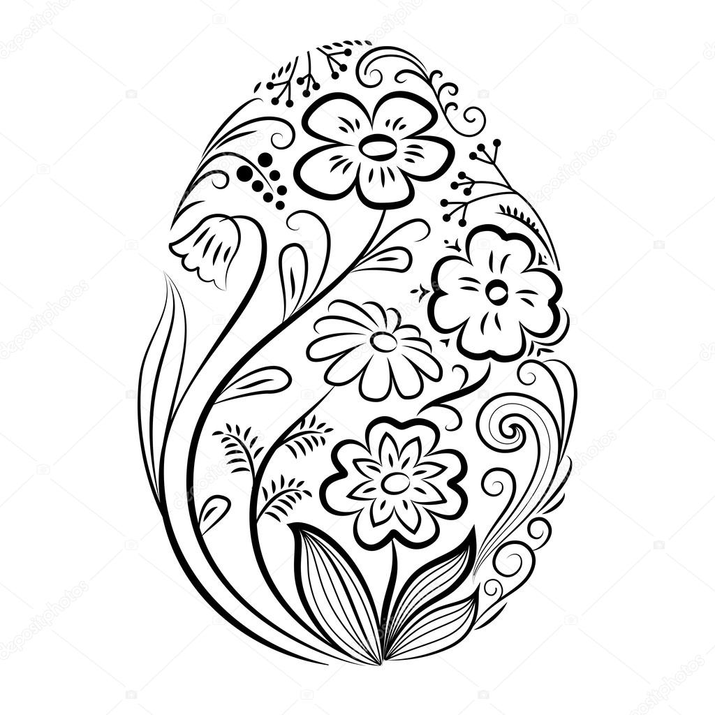 Easter Egg With Floral Pattern In Black And White Stockvector