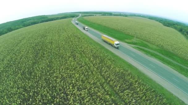 Letecký pohled. Klikaté silnice, dálnice na podzim. Dálnice M7 Volga