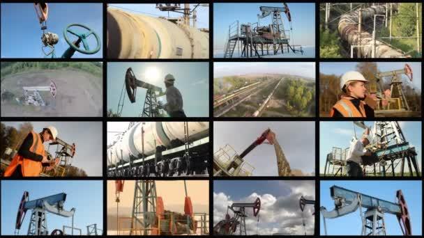 Ropný průmysl. Sestřih rozdělená obrazovka 4k. Ropa rockeři čerpadlo, inženýři v oboru
