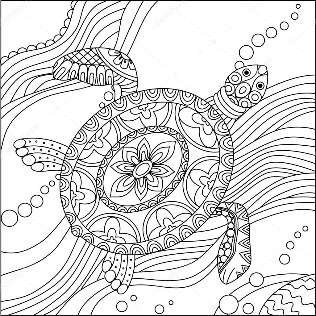 Sea Turtle Coloring Page Stock Vector C Irmairma 101712770