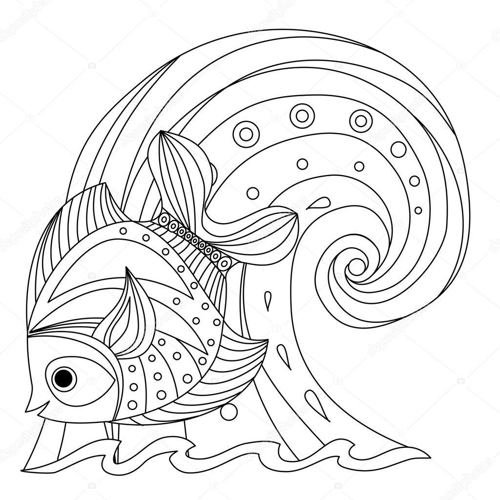 Boyama Sayfası Balık Ve Dalga Stok Vektör Irmairma 105721572