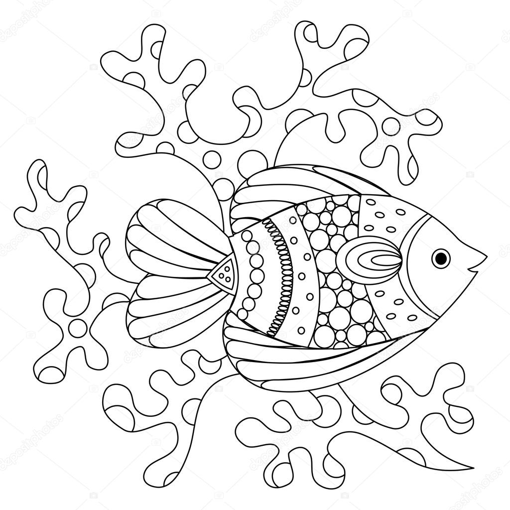 Fish And Coral Coloring Page Stock Vector