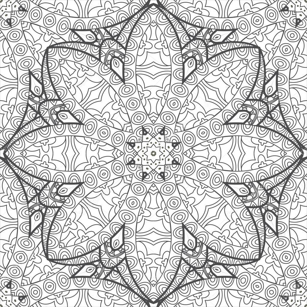 çiçek Mandala Süs Boyama Sayfası Stok Vektör Irmairma 105722074