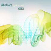 Abstraktní čáry na světlém pozadí. Vektorová ilustrace. Technologické zázemí s pruhy. Žluté, zelené, modré barvy.