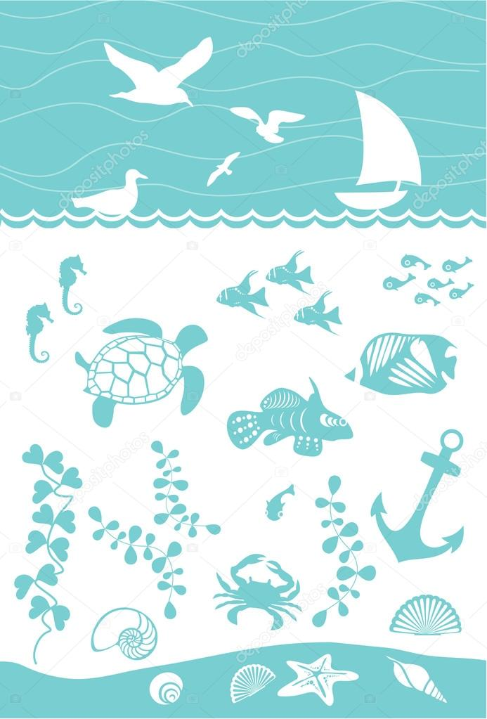Seabed with marine inhabitants