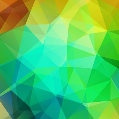 Geometric pattern, polygon triangles vector background in yellow and green tones. Illustration pattern