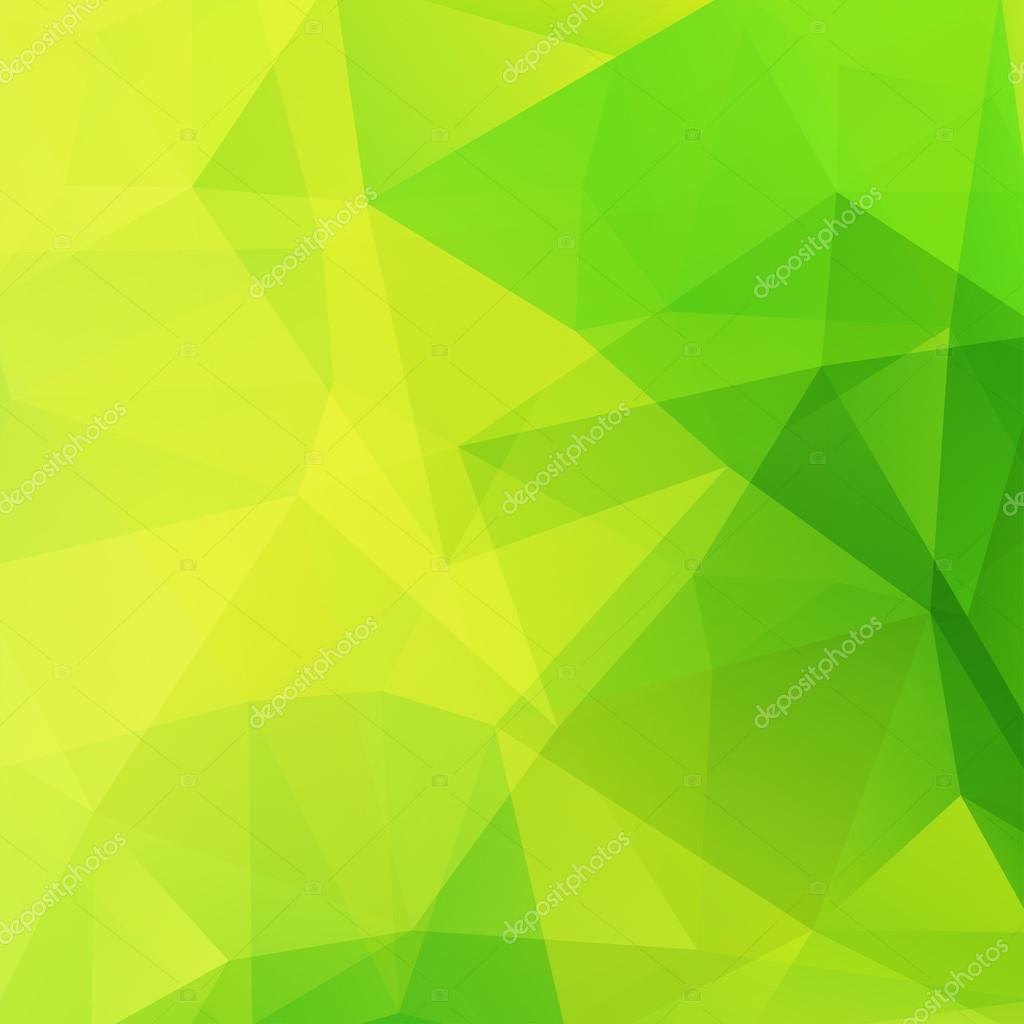 Abstract mosaic background. Green, yellow color. Triangle geometric ...