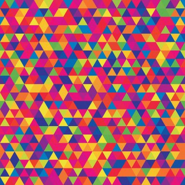 Abstract seamless mosaic background. Triangle geometric background. Vector illustration. Rainbow-colored. Yellow, pink, red, blue, green colors.