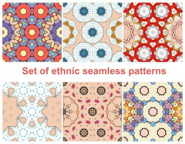 Ethnic Style Pattern Set - Collection of Six Beautiful Pattern Designs. Seamless pattern can be used for wallpaper, pattern fills, web page background, surface textures. Fashion seamless backgrounds.