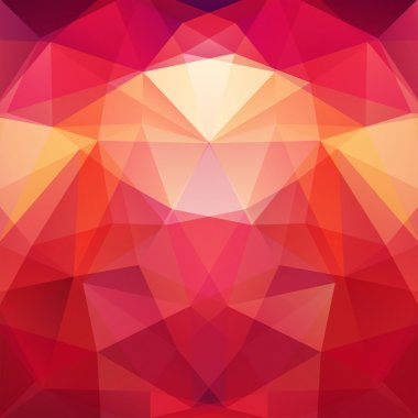 Geometric pattern, polygon triangles vector background in red and orange tones. Illustration pattern