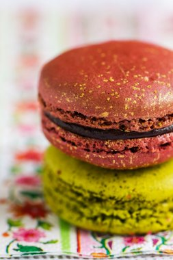Colourful Macarons on a napkin
