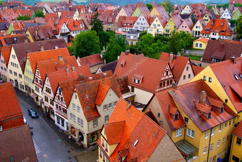 Rotenburg On Tauber, Germany, Bavaria, Old City, Red Roofs, Tile On