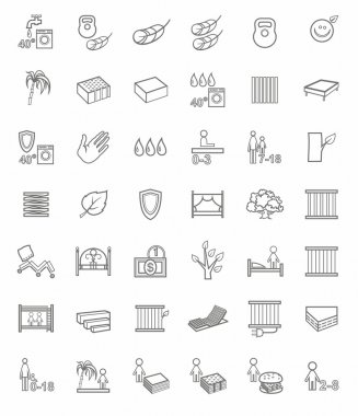 Mattresses, beds, linear icons.