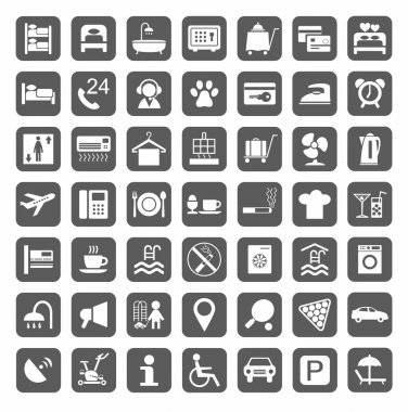 Hotel, hotel services, plain gray icons.