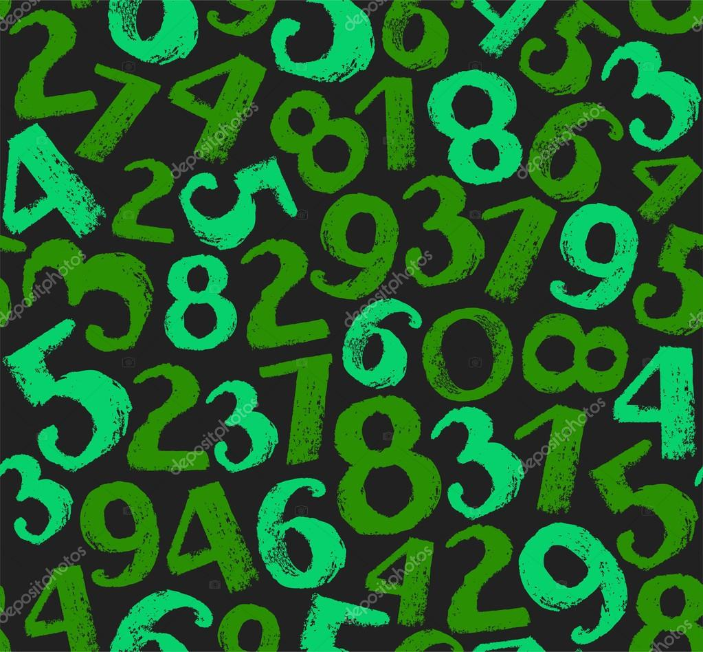 Seamless background with numbers, dark green. — Stock Vector ...
