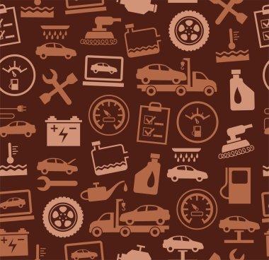 Repair and maintenance of vehicles, seamless pattern, brown.