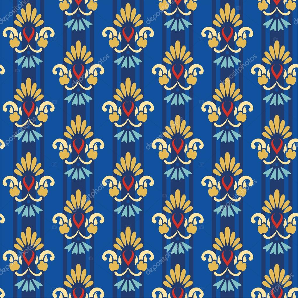 Floral gold pattern on a blue striped background.