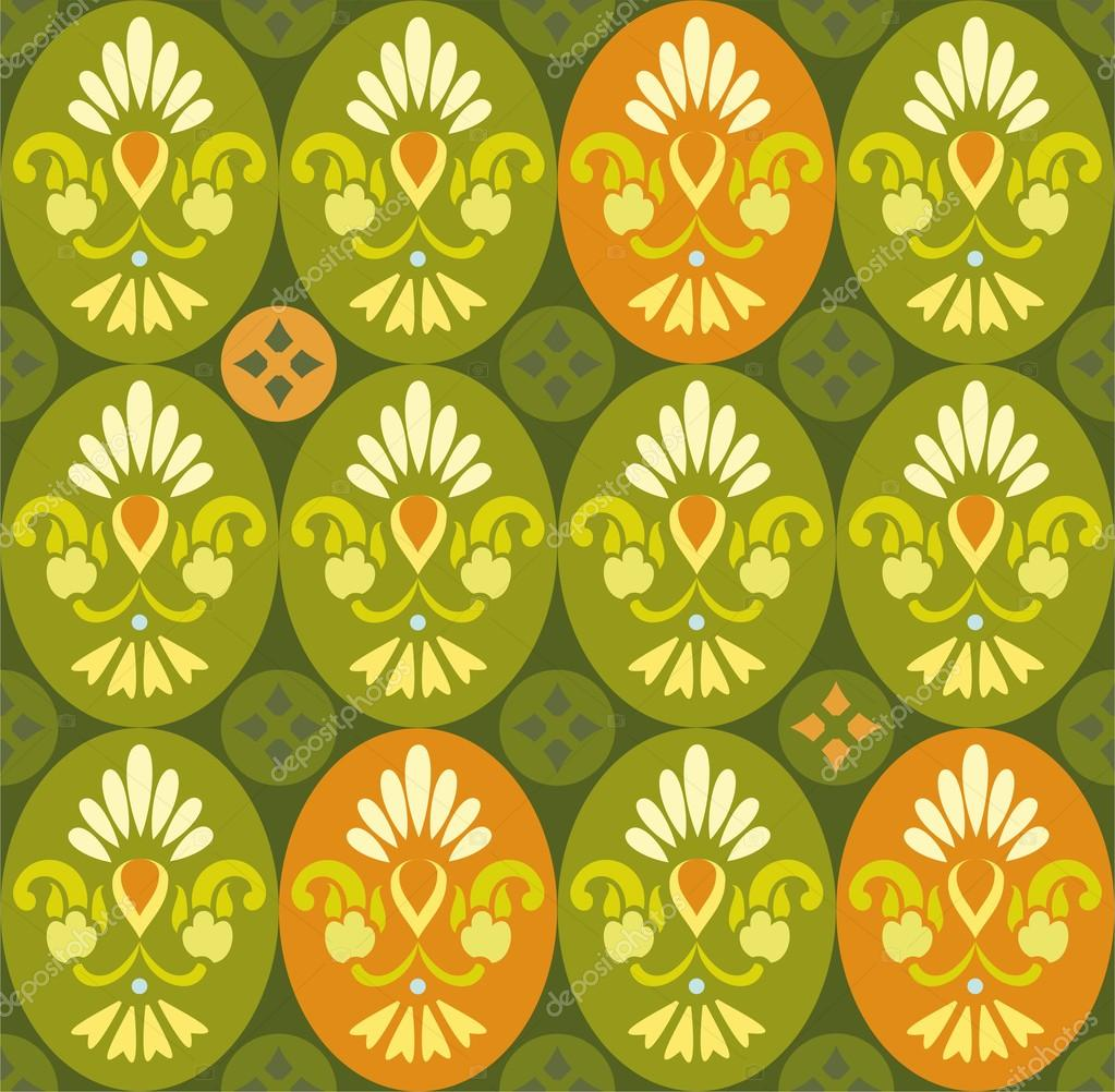 Floral green pattern in ovals and circles.
