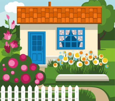 Summer house, garden, flowers, lawn.