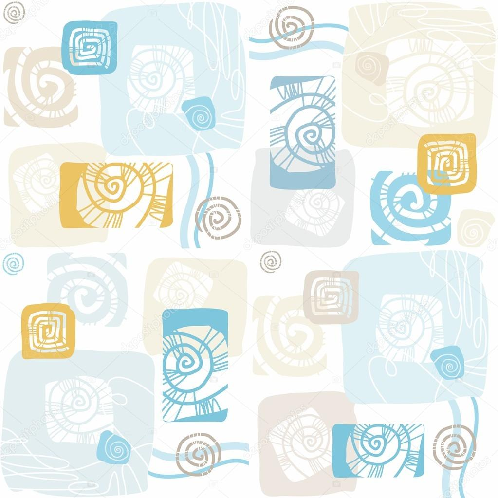 Seamless pattern with sea shells, mollusks, color, flat.