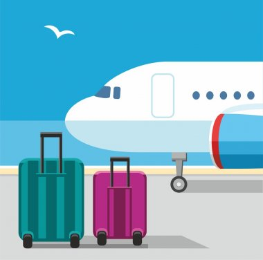 The plane, suitcases, Seagull, blue sky, airport, baggage, vacation.