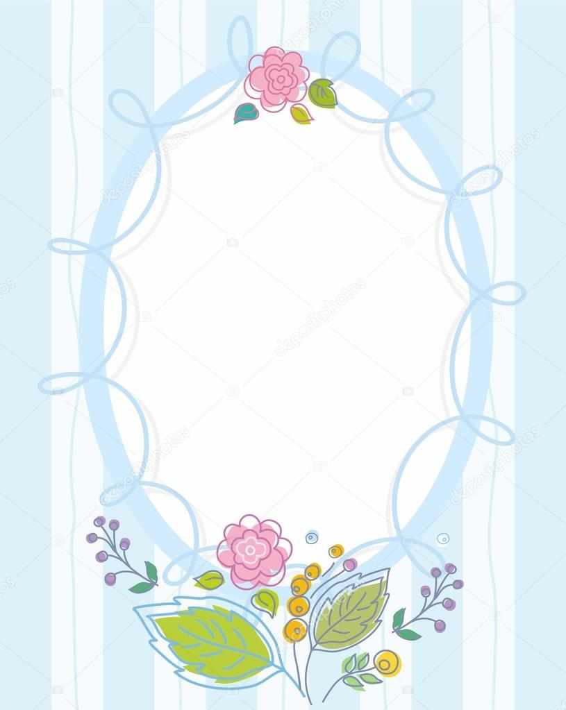 Postcard, frame, blue, striped, colored, contour flowers.