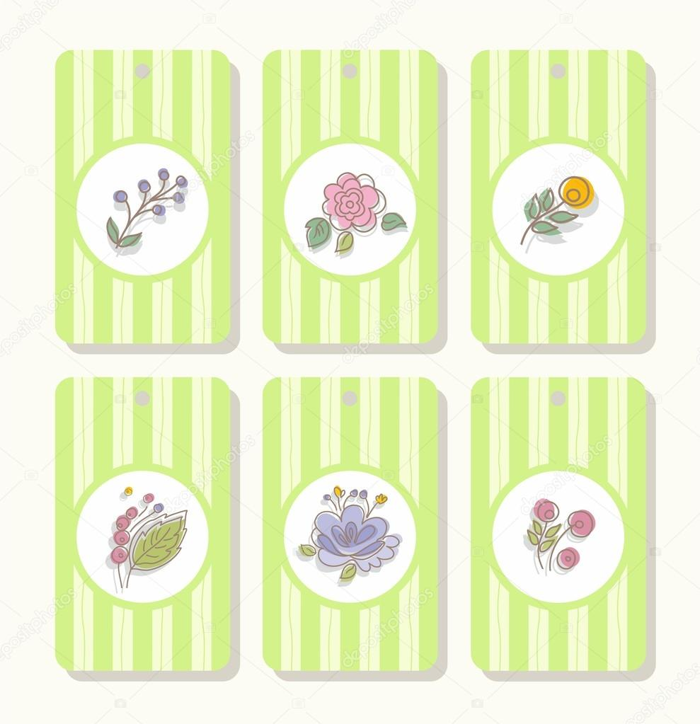 Tags, labels, flowers, plants, berries, striped, green.