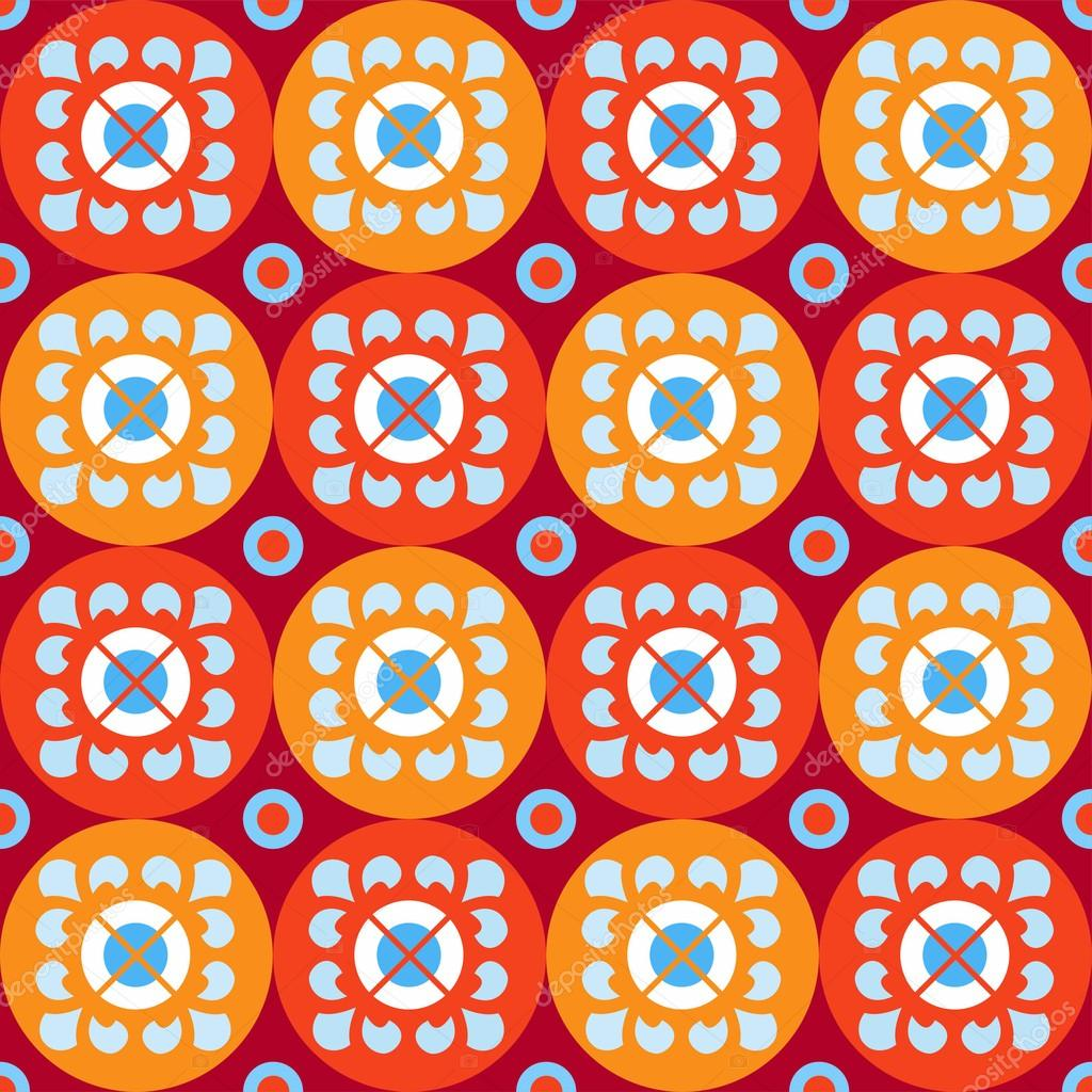 Seamless pattern with flowers in red and orange circles.
