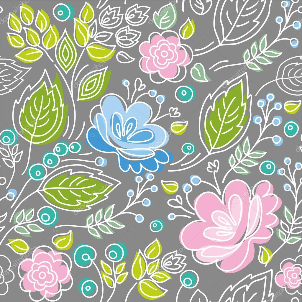 Seamless gray pattern, blue, pink flowers, green leaves, white outline.