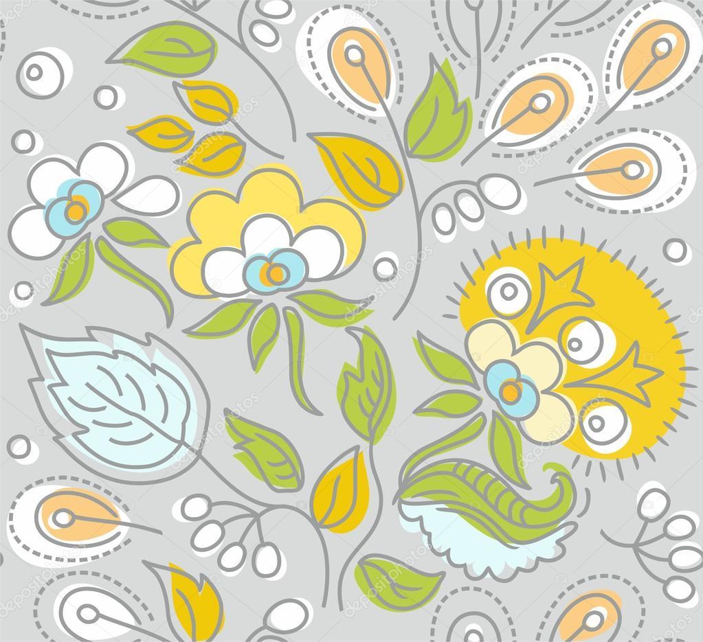 Seamless Gray Pattern Yellow Flowers White Berries Stock Vector