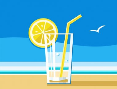Water with lemon, a refreshing drink, sea, summer, colour illustrations.