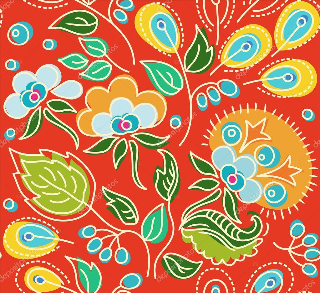 Seamless red pattern of flowers, green leaves, yellow seeds.