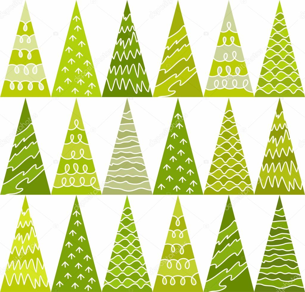 Spruce, trees, green, new year, pattern, triangles, geometric, background, seamless.