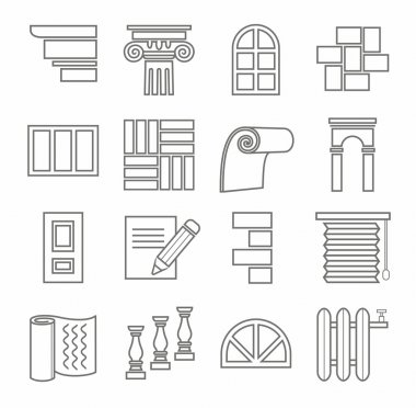 Icons, repairs, construction, building materials, line, outline, monochrome.